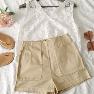Lush Khaki High Waist Shorts
